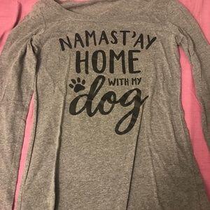 Tops - Namast'ay Home with my Dog LS Shirt